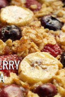 Baked Banana Berry Oatmeal Recipe