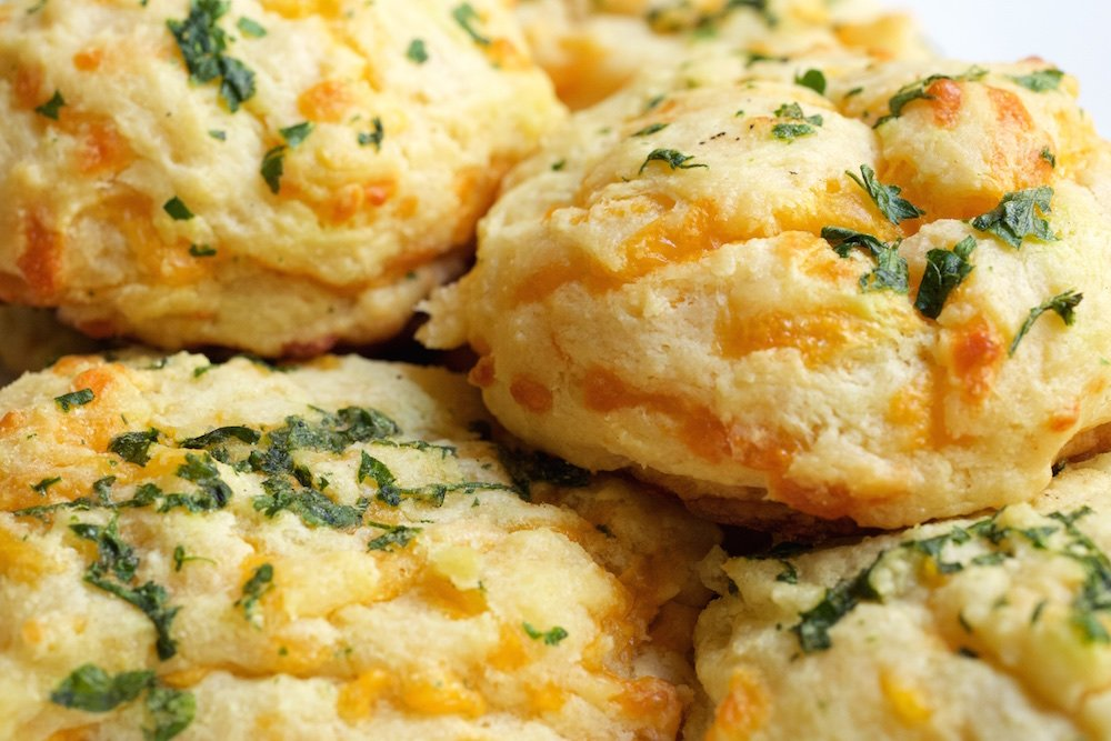 A close up of homemade Red Lobster Biscuits.