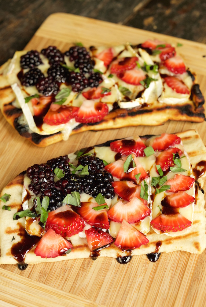 American Flag Grilled Fruit & Brie Pizza