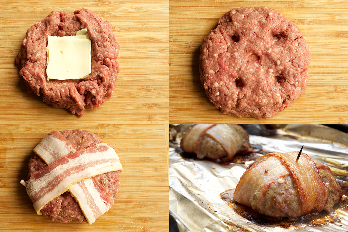 A collage showing how to make a cheese stuffed bacon wrapped burger. 1) A raw meat patty with cheese placed in the middle, 2) More raw meat placed on top to form a patty, 3) Two pieces of bacon criss crossed around the patty, 4) the hamburger patty cooking on foil on the grill.