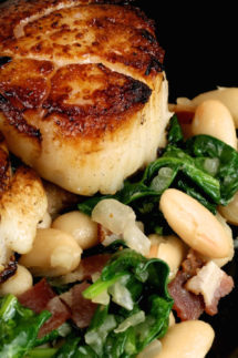 Skillet Seared Scallops with White Beans & Spinach Recipe