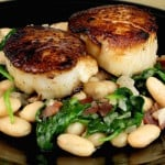 Skillet Seared Scallops with White Beans & Spinach