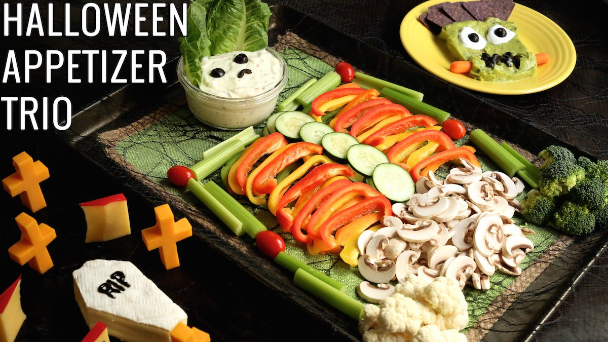 halloween veggie tray appetizer trio recipe healthy recipes