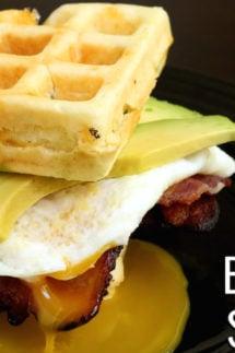 """Cheddar Waffle """"BAE"""" Breakfast Sandwich Recipe"""