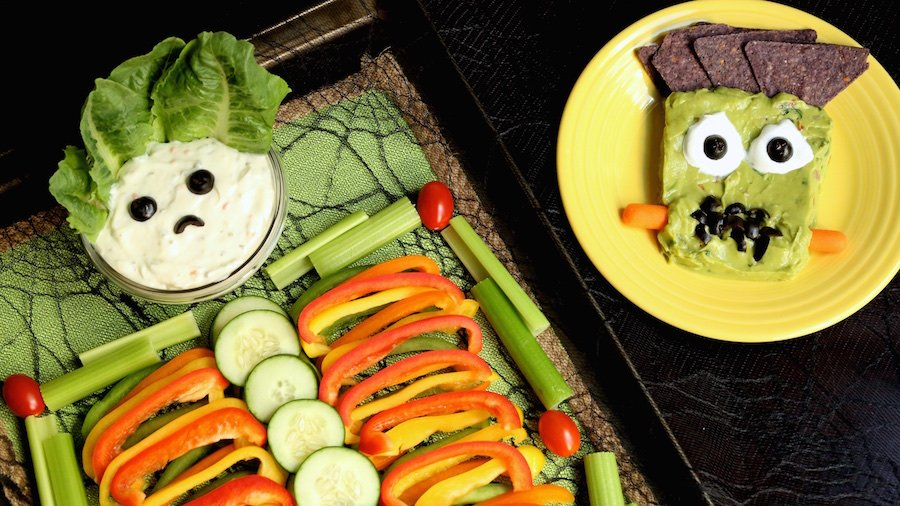 Halloween Skeleton Veggie Tray & Frankenstein Guacamole Recipe