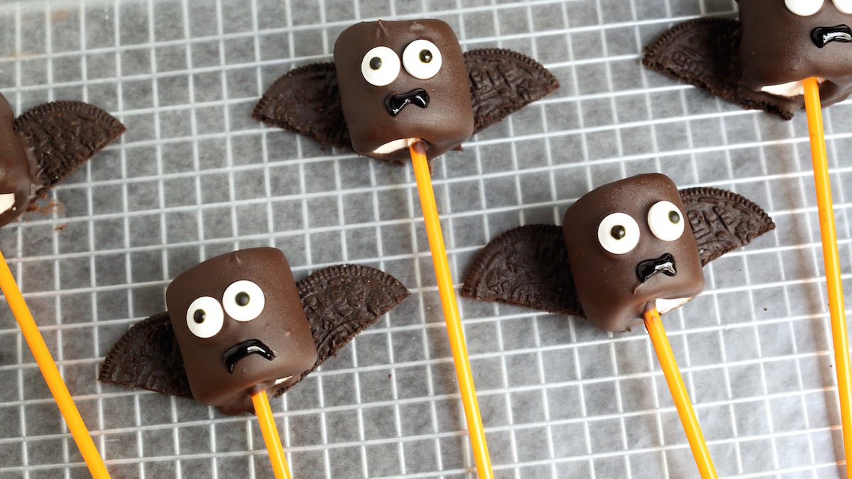 vampire bat marshmallow pops recipe halloween recipes