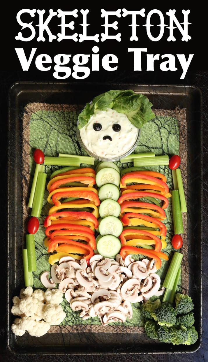 Halloween Skeleton Veggie Tray Recipe