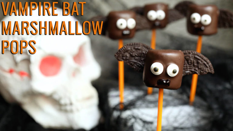 Vampire Bat Marshmallow Pops | Spooky Halloween Dessert Ideas