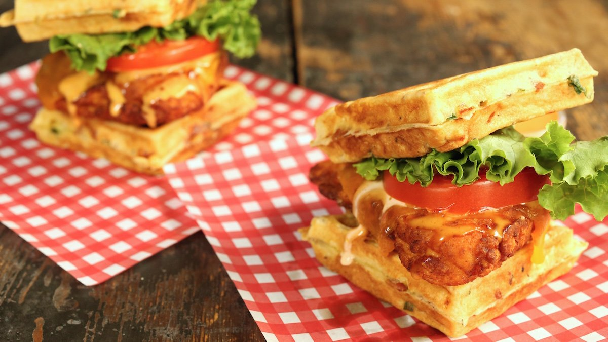 Buttermilk Fried Chicken Cheddar Bacon Waffle Sandwich Recipe