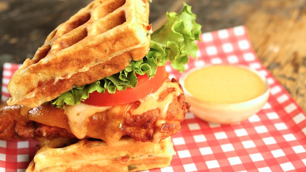 Buttermilk Fried Chicken and Bacon Cheddar Waffle Sandwich