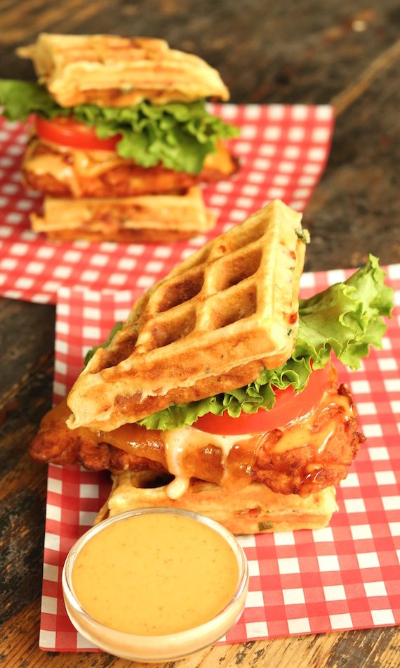 Fried Chicken and Bacon Cheddar Waffle Sandwich