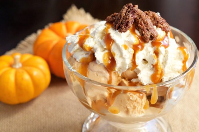 Pumpkin Pie Ice Cream Sundae Recipe with Homemade Pumpkin Caramel, Maple Vanilla Bourbon Whipped Cream, and Candied Pecans