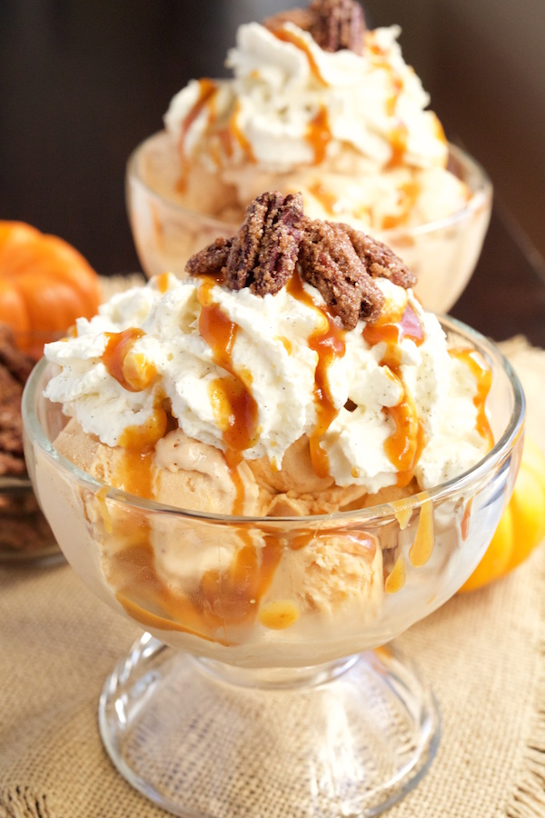 Pumpkin Pie Ice Cream Sundaes with Homemade Pumpkin Caramel, Maple Bourbon Whipped Cream, and Candied Pecans