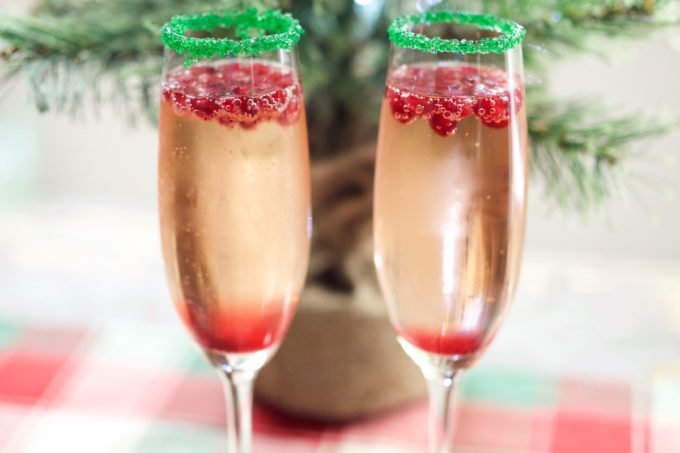 Christmas Champagne Cocktail with Pomegranate and Homemade Simple Syrup