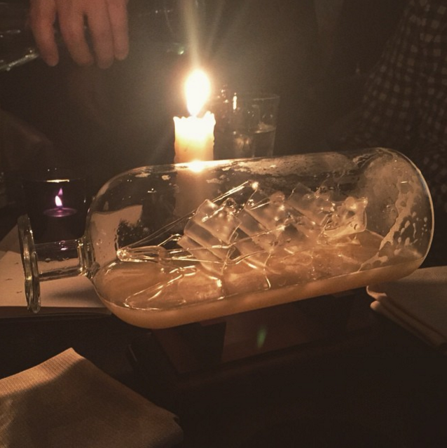 Loaded To The Gunwalls, ship in a bottle cocktail at The Aviary Chicago