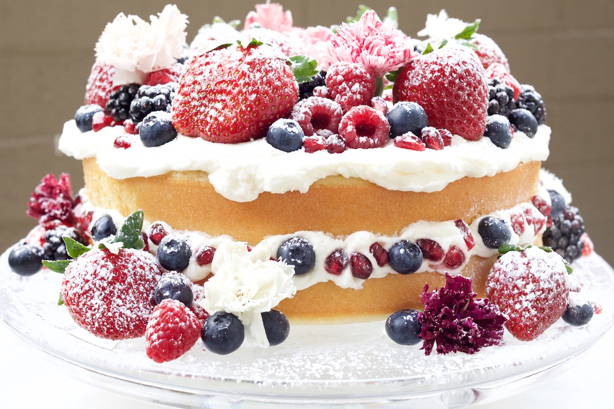 Cake With Fresh Fruit And Cream