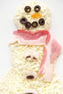 Bacon Ranch Mushroom Snowman Pizza Recipe