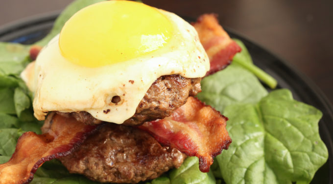 Low Carb Paleo Bacon Burger with Fried Egg