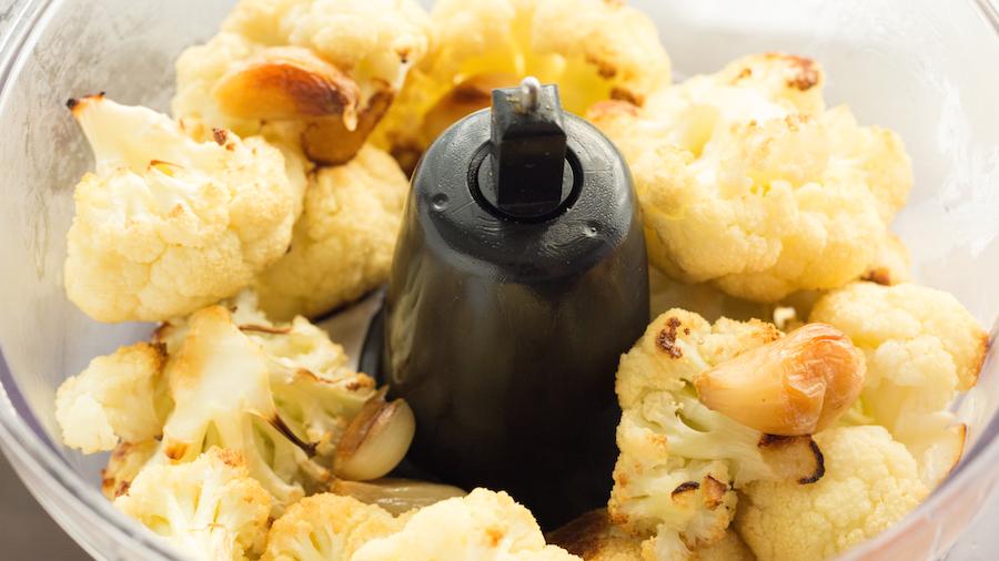 Roasted Garlic Cauliflower Hummus Ingredients In Food Processor