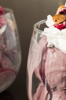 Red Wine Ice Cream Sundae recipe featuring vanilla bean whipped cream, spice wine syrup, and lavender almonds.