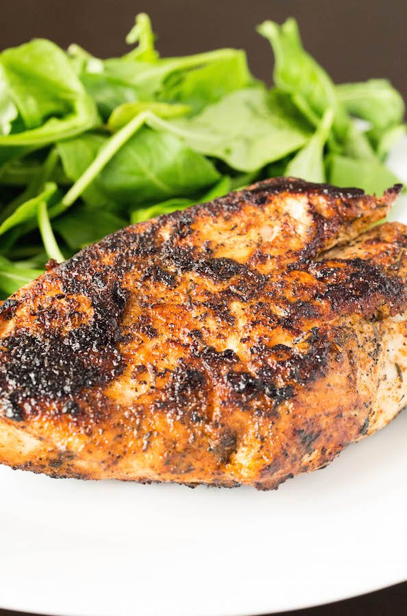 Easy weeknight dinner recipe: blackened chicken made using only three ingredients.