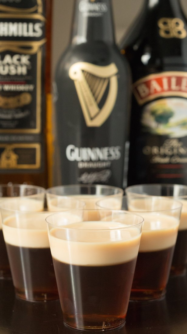 Make Irish Car Bomb Jello Shots. Whisky and Guinness base, creamy Bailey's topping.
