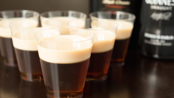 Irish Car Bomb Jello Shots made with Guinness, Irish Whisky, and Bailey's Irish Cream. A hit St. Patrick's day recipe!
