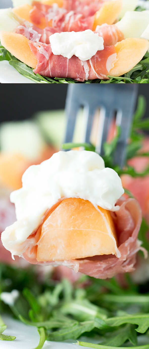 Sweet melon, salty prosciutto, and creamy burrata on a bed of arugula.