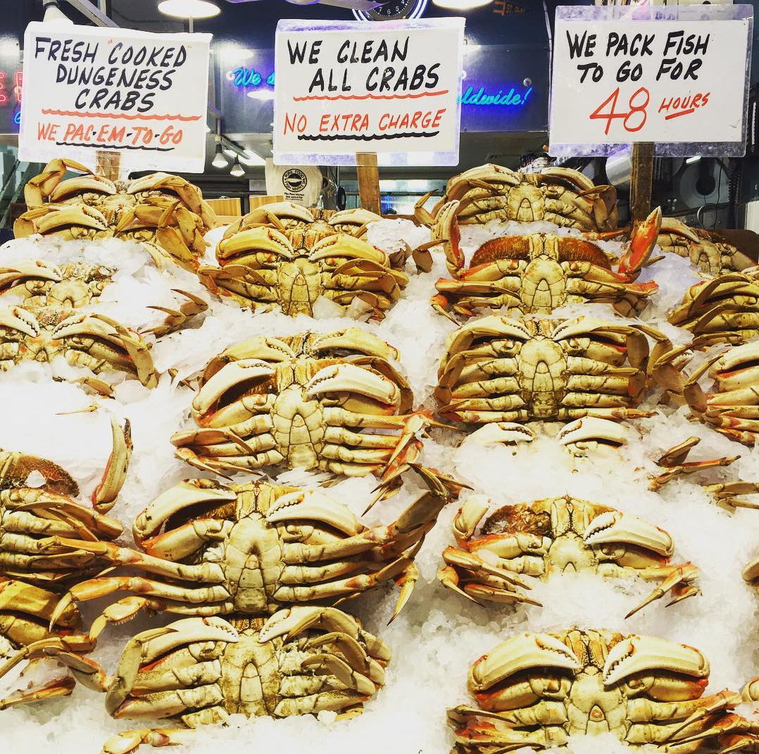 Dungeness Crabs at Pike Place Market in Seattle