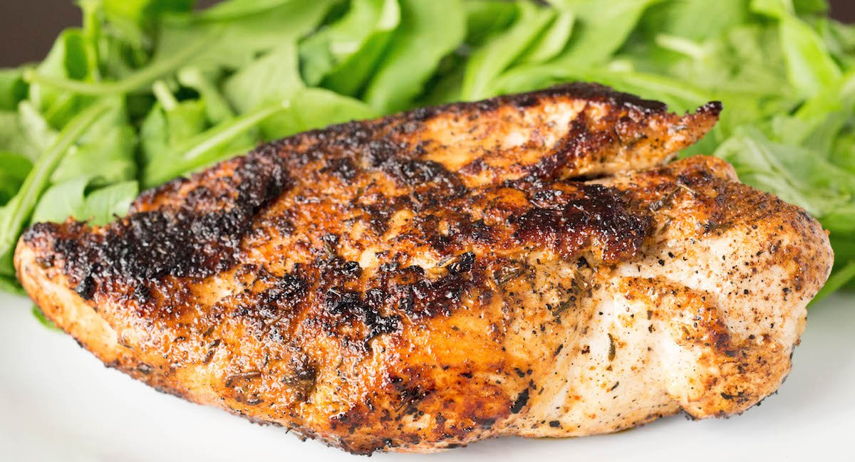 Easy blackened chicken recipe made using only three ingredients.