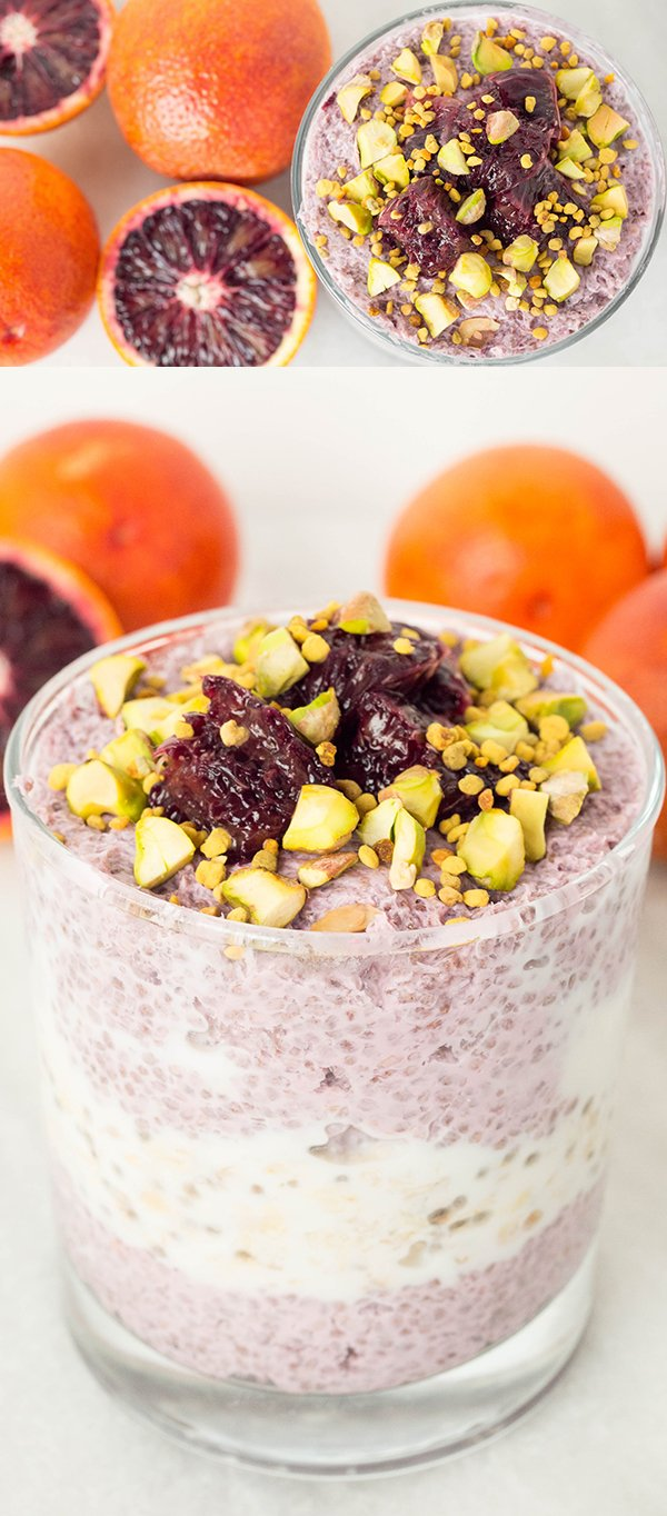 Blood Orange Chia Seed Parfait with a layer of Vanilla Overnight Oats.