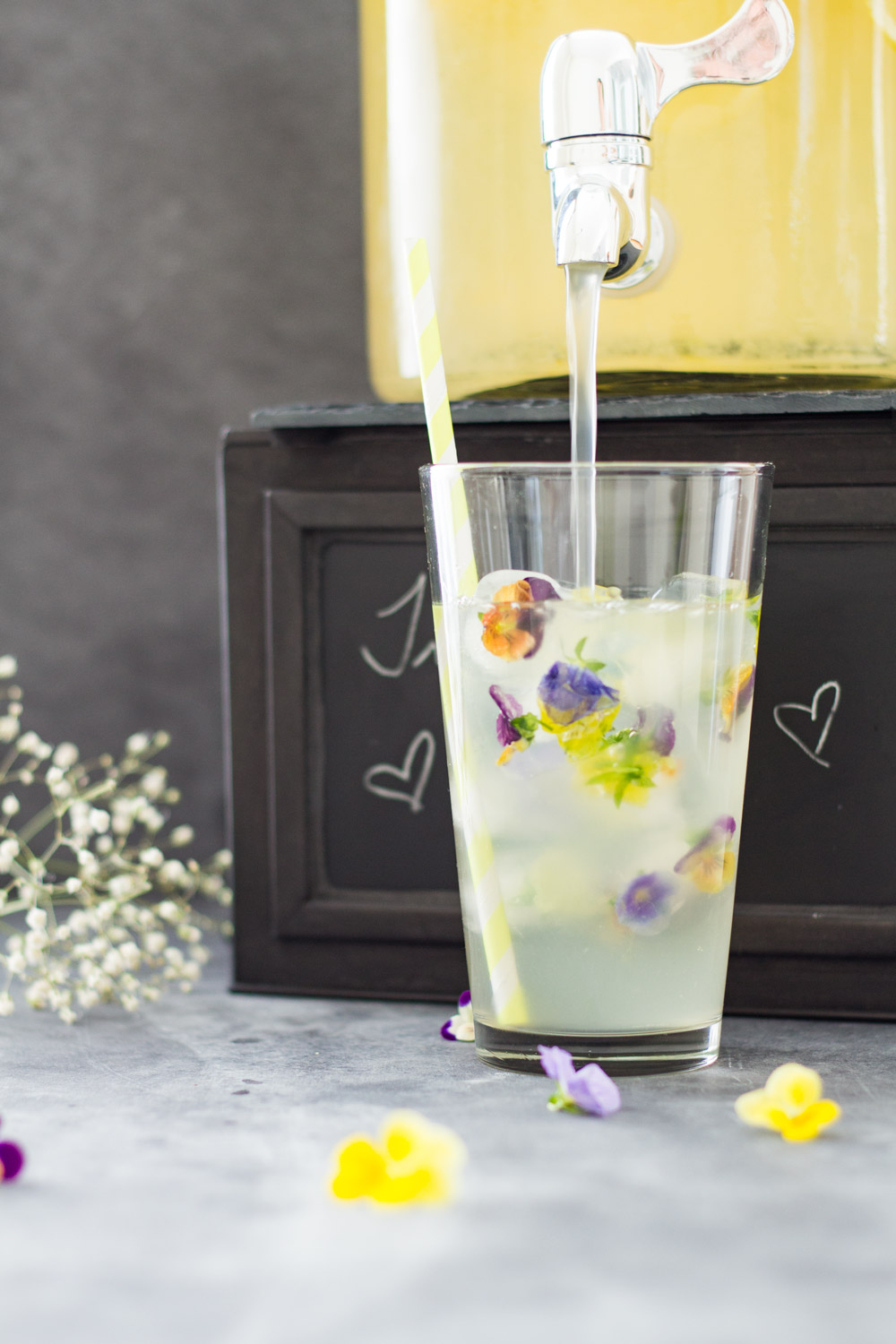 Lemon Infused Water with Edible Flowers - Recipes To Help Survive a Heatwave