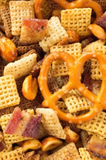 A classic snack with a modern, decadent twist. Duck Fat Chex Mix made in the crock pot.