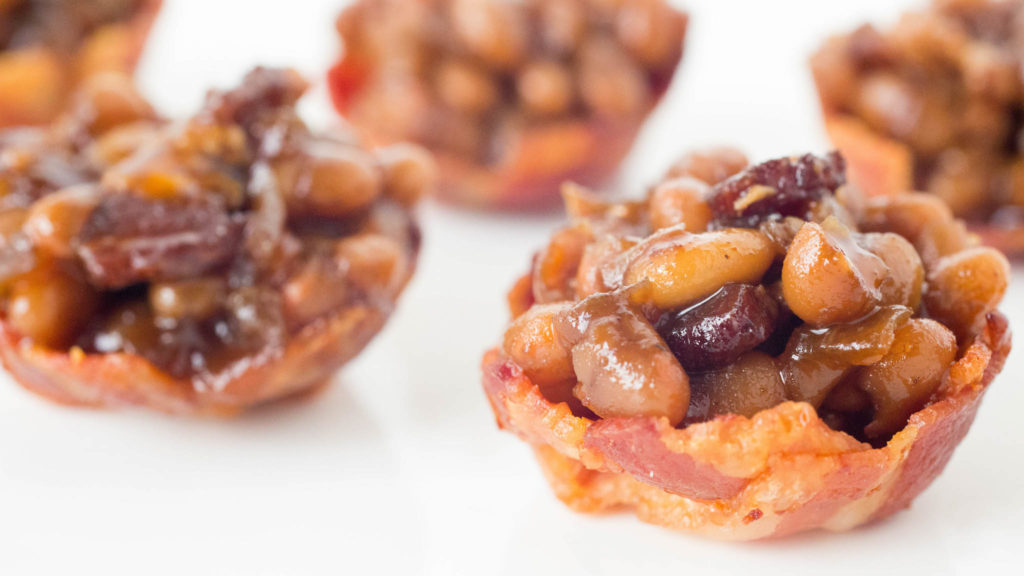Baked Beans served in Mini Bacon Cups.