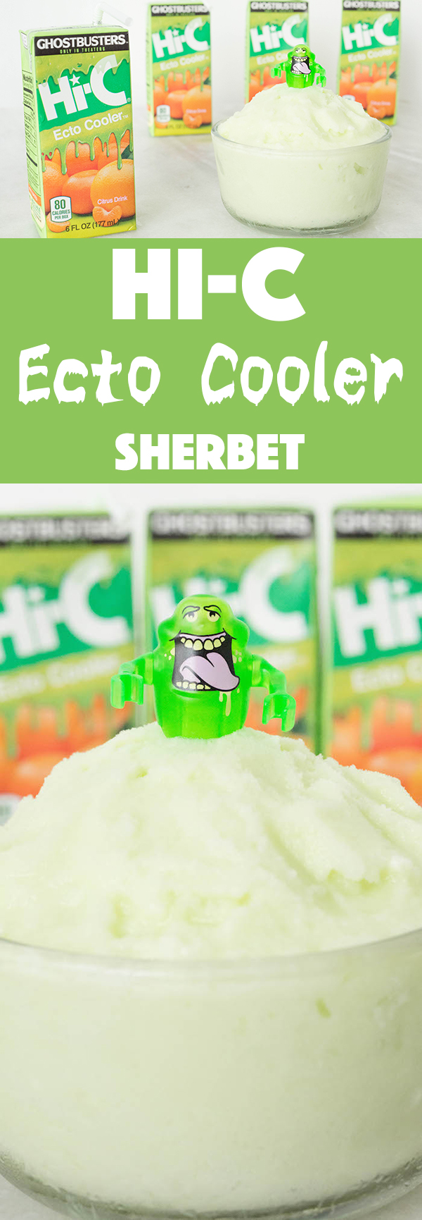 Hi-C Ecto Cooler is back for the new Ghostbusters movie. We turn it into Ecto Cooler Sherbet Ice Cream with this easy to follow recipe.
