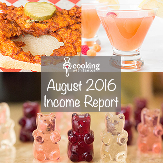 Food Blogger Income Report - August 2016 - Cooking With Janica