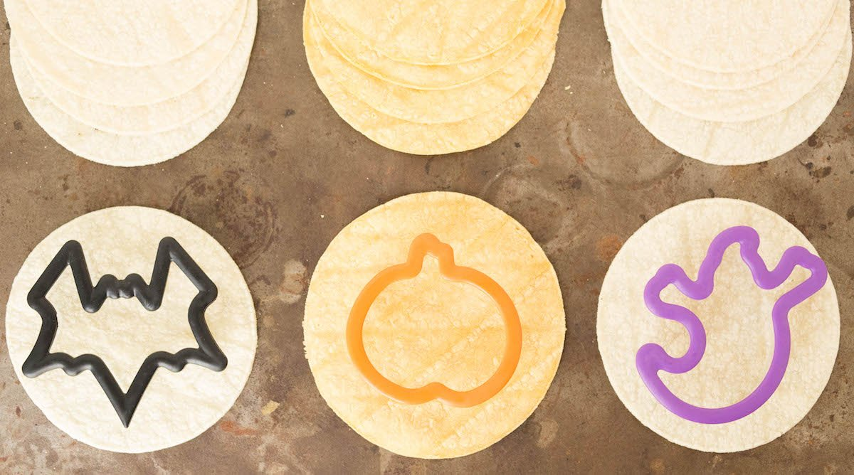 How to make halloween tortilla chips with cookie cutters.