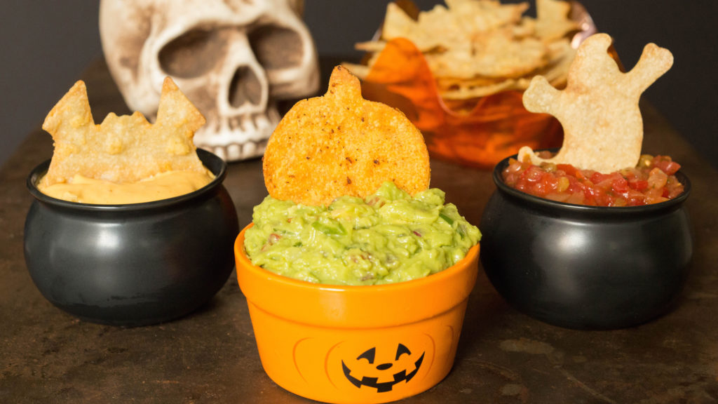 This easy recipe shows you how to make 3 different flavored Halloween tortilla chips. A healthy Halloween appetizer!