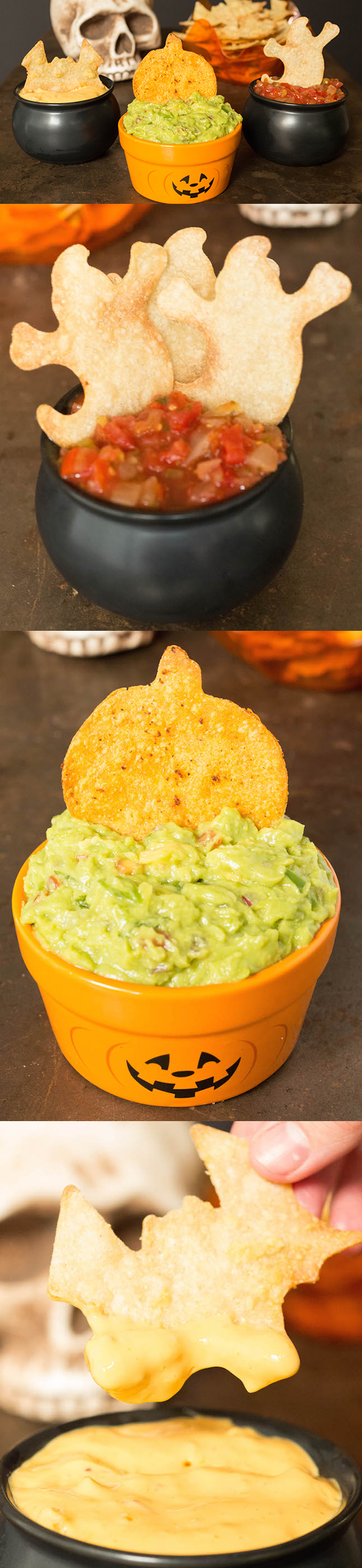 Easy Halloween Tortilla Chips recipe using cookie cutters.
