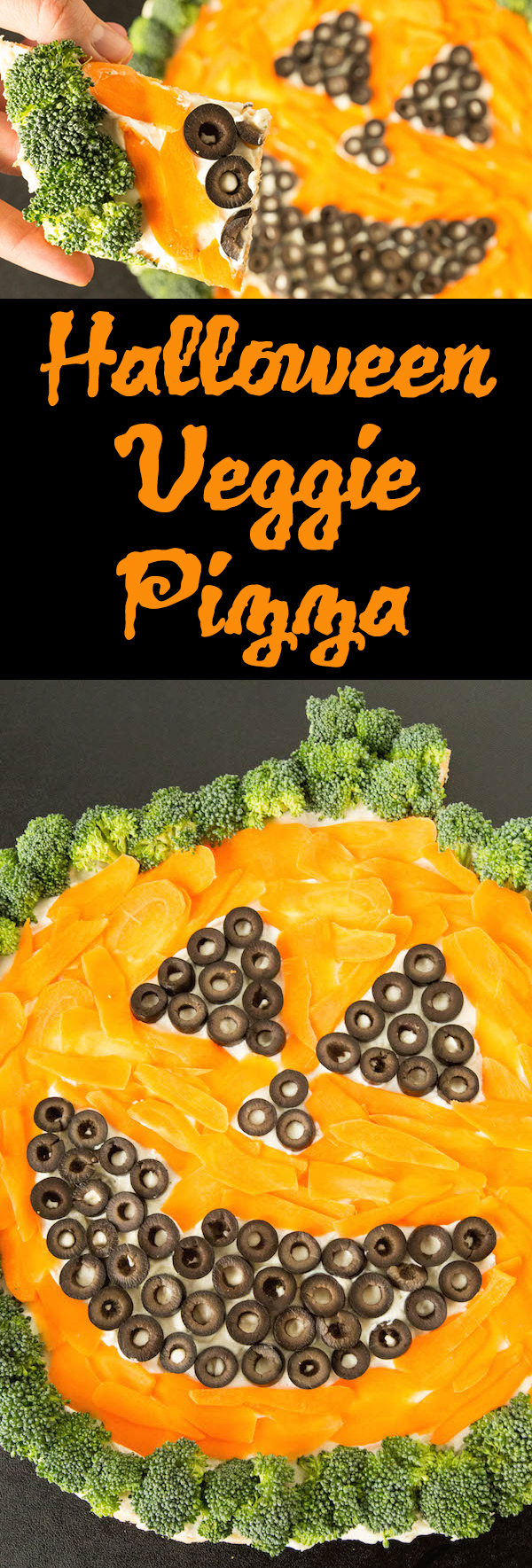 Learn how to make a Halloween Veggie Pizza in the shape of a pumpkin.