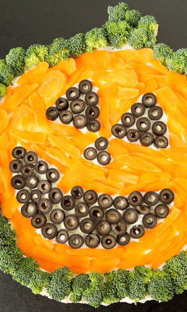 Easy to make Halloween Vegetable Pizza recipe.