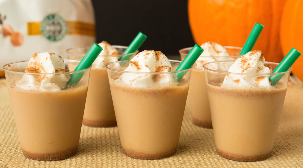 Pumpkin Spice Latte Jello Shots Recipe - Everyone's favorite fall beverage reimagined as a tasty, vodka filled jello shot.