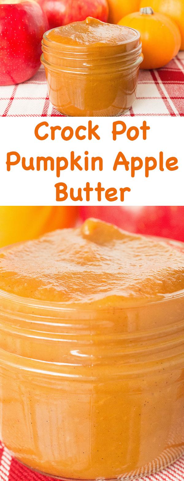 Vanilla Bean Pumpkin Apple Butter made in the crock pot.