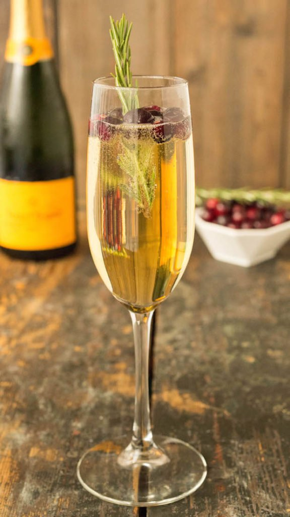 White Grape Cranberry Mimosas - Fall Mimosas 4 Ways