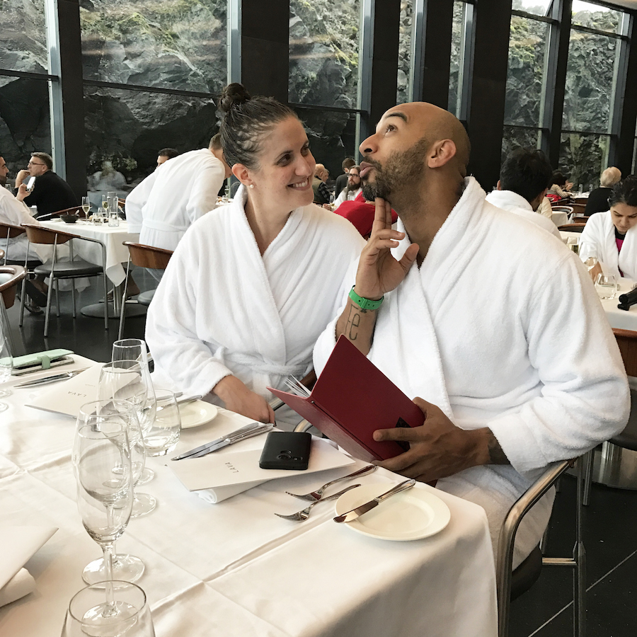 Dining in bathrobes at Lava Restaurant at the Blue Lagoon Iceland