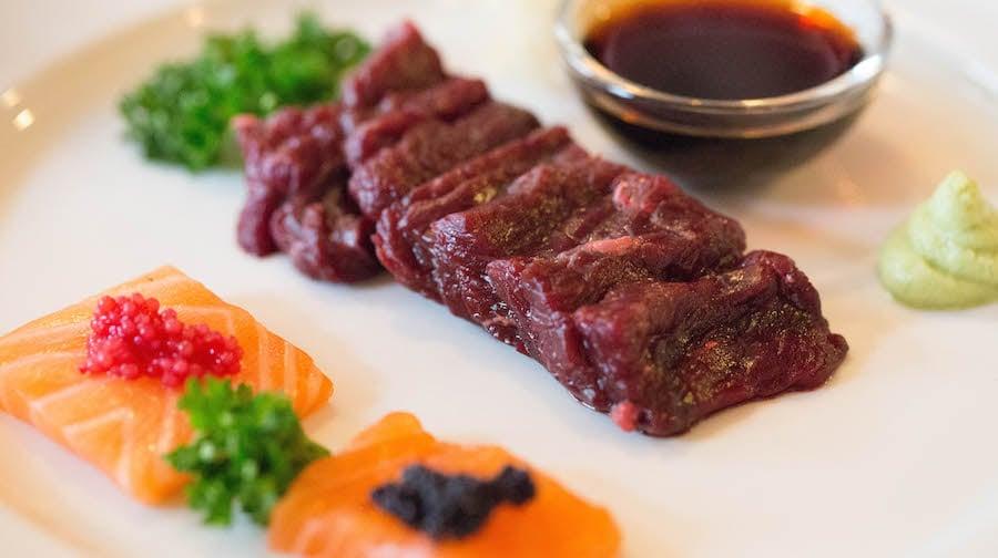 Minke Whale served sashimi (raw) style at 3 Frakkar in Iceland