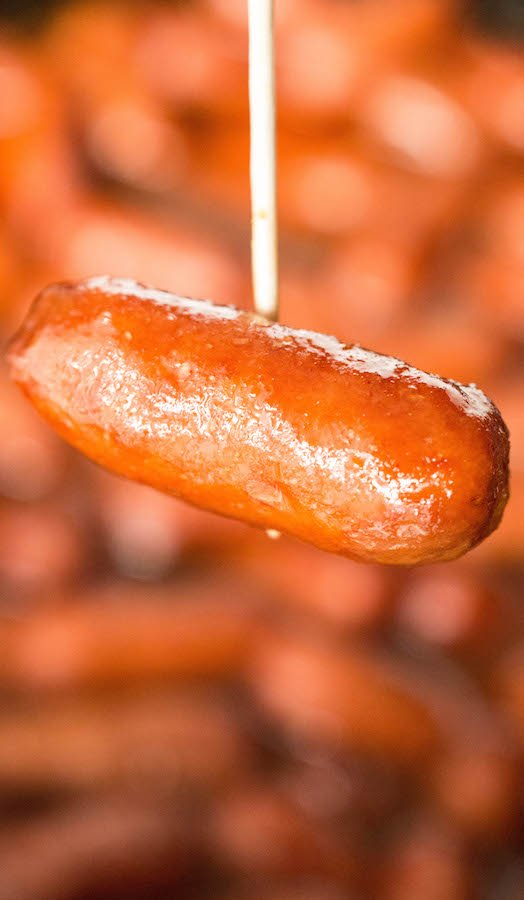 Apple Cranberry Little Smokies made in the crock pot. Perfect Christmas party or pot luck appetizer.