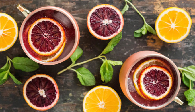 Moscow Mule made with fresh blood orange and Meyer lemon juice.