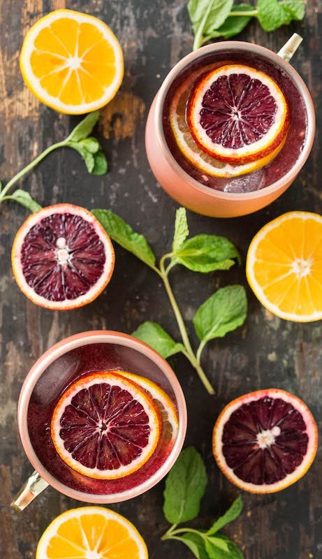 These seasonal Moscow Mules are blended with blood orange & Meyer lemon juices.