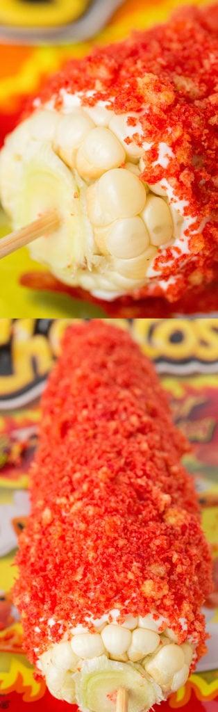 Flamin' Hot Cheetos Corn Recipe - Mexican Elote Flamin' Hot Cheetos Corn on The Cob
